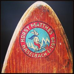 Ski logo (Bavaria), on vintage wooden skis. Kabinett Vintage, Piper St, Kyneton