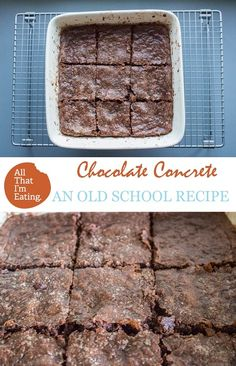 Who remembers Chocolate Concrete from school? This is such an easy bake and brings back so many memories! Tray Bake Recipes, Tart Recipes, Sweet Recipes, Baking Recipes, Dessert Recipes, Custard Recipes, Old School Desserts, School Dinner Recipes, Chocolate Slice