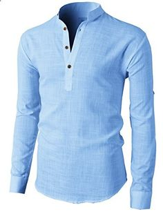 H2H Mens Casual Slim Fit Basic Designed Roll-up Sleeve Popover Henley Shirts BLUE US M/Asia L KMTTL0351  Go to the website to read more description.