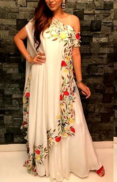 Beautiful Crepe-Satin Long layered Dress with beautiful edges cut work embroidery. Indian Bridal Fashion, Indian Wedding Outfits, Indian Outfits, Stylish Dress Designs, Stylish Dresses, Fashion Dresses, Western Dresses, Indian Dresses, Indian Designer Suits