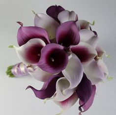 Wedding Bouquet Purple Calla Lilly Bouquet by MGFloralDesign