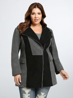 Plus Size Color Block Fitted Coat, DEEP BLACK/CHARCOAL HEATHER