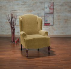 Hanover Camel Wing Chair Slipcover, Yellow chair, gold furniture, trendy home decor Gold Furniture, Trendy Furniture, Furniture Making, Wingback Chair, Armchair, Trendy Home Decor, Wing Chair, Slipcovers, Camel