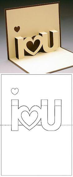 Pop Up I love u card with template