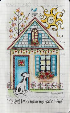"visual blessings: ""Love Brings You Home"" in my Moleskine Journal Illustration Art, Illustrations, Doodles, House Quilts, Pintura Country, House Drawing, Art Journal Pages, Art Journals, Moleskine"