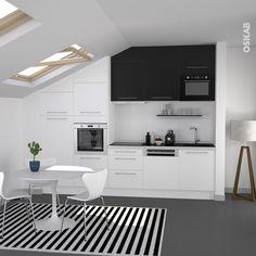 Cuisine bicolore design blanche et noire : meuble haut noir, meuble bas blanc, lave-vaisselle integrable, hotte telescopique, tapis de cuisine rayé – www.oskab.com