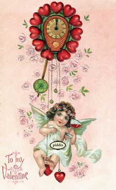 Super-cute vintage Victorian-era Valentine with cupid swinging on clock made of hearts and drinking something red. One of more than 100 #vintage victorian-era #valentines available from piddix for licensing. PDXC8368
