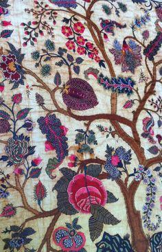 embroidered mid-18th-c. Coromandel Coast palampore, India, cotton with silk thread, MFA, Boston. On loan to The Met. [via Style Court]