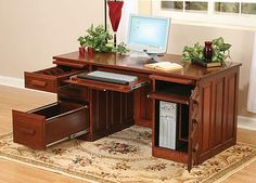 "Our Glen Traditional Computer Desk is shown in cherry. Available in six sizes ranging from 50""W x 26""D to 68""W x 30""D, all 30""H. See store for details. 
