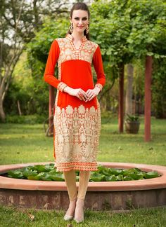 Fanciable Red Georgette Kurtis