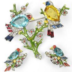 Trifari Philippe Aqua Citrine Enamel Birds on Branches Pin & Clip Earrings Set $2,575