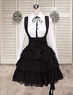 Long Sleeve Shirt Knee-length Suspender Skirt Cotton Classic... – USD $ 71.99