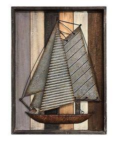 Another great find on #zulily! Metal Sailboat Sculpture Wall Art #zulilyfinds