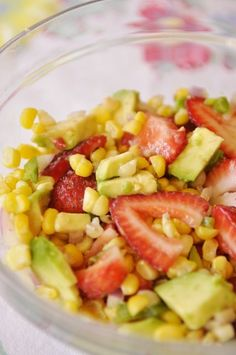 Roasted Corn, strawberry and avocado Salsa.