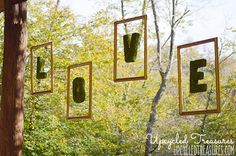 How to Create Floating Moss Letters for Wedding Reception Decor. Add a whimsical touch to your big day with this DIY wedding project. {ahandcraftedwedding.com}