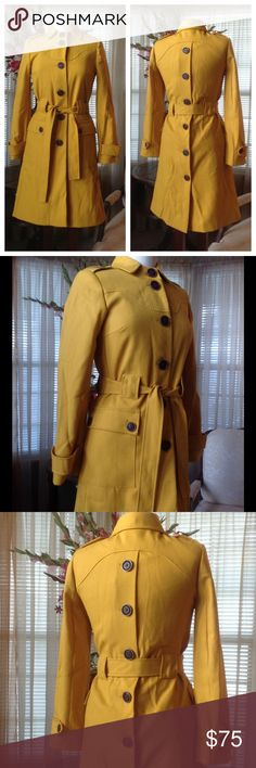 """Via yellow mustard trench jacket In excellent condition. No defects found. It's made of 55% polyester and 45% wool. Lining is 100% polyester.  It's 38"""" long laying flat.                       .                        h Via Jackets & Coats"""