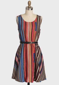"""Fair Day Striped Dress By Uttam Boutique 92.99 at shopruche.com. Fall in love with this adorable striped dress. The bright colors and black belt add a bit of fun to this sophisticated dress. Accented with ivory decorative bow buttons at the shoulders, fully lined, and an elasticized waist for a comfortable, flattering fit.100% Polyester, Imported, 35"""" length from top of shoulders"""