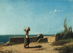 """""""Seafront"""" (1860) by Italian painter Vincenzo Cabianca. Oil on canvas. Private Collection."""