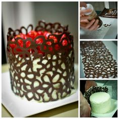 Cake decorating with chocolate - would like to try this! With red chocolate Cake Decorating Tips, Cookie Decorating, Food Cakes, Cupcake Cakes, Chocolate Lace Cake, Melt Chocolate, Molding Chocolate, Chocolate Shapes, Chocolate Work