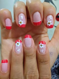 Flor de puntos French Nail Art, French Nail Designs, Nail Polish Designs, Nail Art Designs, Hard Nails, Funky Nail Art, Acrylic Nail Tips, French Manicure Nails, Flower Nail Art