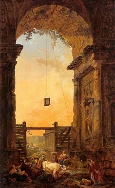 The Return of the Cattle   Hubert Robert    (French, 1733-1808)
