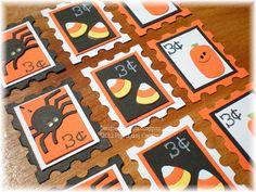 Halloween Themed Postage Style Embellies. $3.50, via Etsy.  Fun Idea...