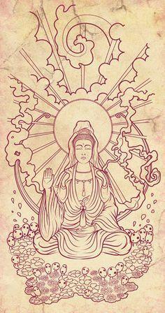 Kuan Yin Tattoo Whole Home Furniture Buddha Tattoo Design, Buddha Tattoos, Art Buddha, Buddha Drawing, Buddha Kunst, Flash Art Tattoos, Yoga Tattoos, Arm Tattoos, Sleeve Tattoos