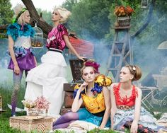 Editorial fashion photo of a group of girls
