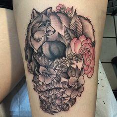 Thanks Anna!! #skulltattoo #flowerskull #foxtattoo