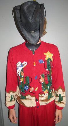 Yeehaw Cactus Christmas Trees Cowboy Western Ugly Christmas Sweater