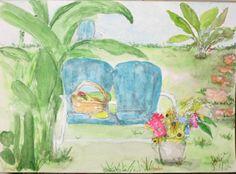 Original Watercolor Painting Blank Greeting Card My backyard  by joyceweaver, $6.50