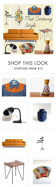 """""""Mid Century Style"""" by brocandpop ❤ liked on Polyvore featuring interior, interiors, interior design, home, home decor, interior decorating, Thrive, LumiSource and vintage"""