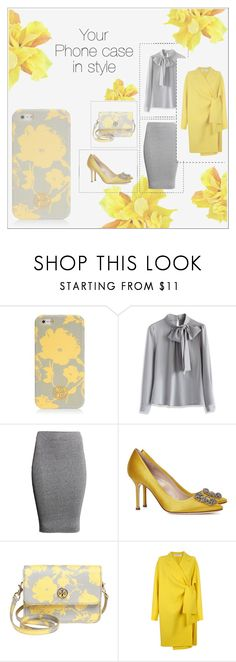 """""""Show me your phone case 📱✨"""" by ghada-a ❤ liked on Polyvore featuring Tory Burch, Chicwish, H&M, Manolo Blahnik and Victoria, Victoria Beckham"""