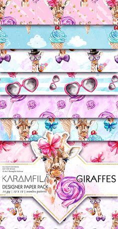 Giraffes digital paper, fashion pets wild animals seamless patterns for planner stickers, scrapbook paper or fabric printing 14 illustrated watercolor backgrounds.