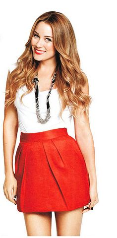 Red skirt with silver accessories, Classy yet Casual Style.