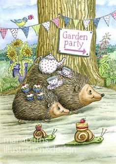 A4 Hedgehog Garden Party Illustration Print от MariaBurnsArt