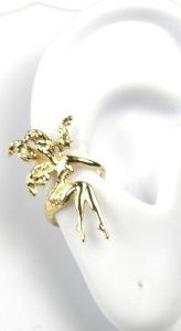 Three Dimensional Gold Vermeil Fairy Ear Cuff - This mystical fairy ear cuff is a great stocking stuffer for any woman who loves jewelry.  It requires no piercings and features intricate details.