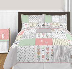 Coral, Mint and Grey Woodsy Deer Girls 3 Piece Full / Queen Bedding Set ** Be sure to check out this awesome product. (This is an affiliate link) #ModernHomeDecor