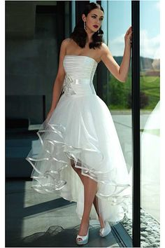 A-line/princess Natural Strapless Tulle Wedding Dresses