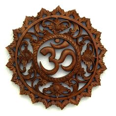 Hand Carved Wooden OM Mandala at Sacred Ways