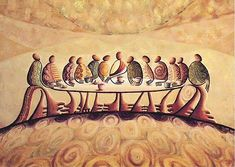 This is the image and the right colors for a dining room piece to go along with Jan Richardson's Poem, The Table Shall be Wide. Last Supper Copper Series - Okaybabs Last Supper Art, The Last Supper Painting, Catholic Art, Religious Art, Biblical Art, Holy Week, African American Art, Sacred Art, Christian Art