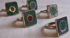 Resultado de imagen para anillos reconstituidos Napkin Rings, Cufflinks, Jewels, Creative, Fabric, Enamels, Copper, Ring Making, Wire Rings