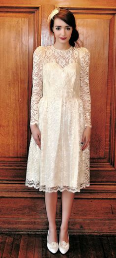 Reserved for Etsik - SALE  1960's Antique White Lace Wedding Dress featuring Sweetheart Bodice Size Medium