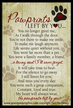 | Visit our website to see all our Pawprints Left by You gifts.                                                                                                                                                                                 More