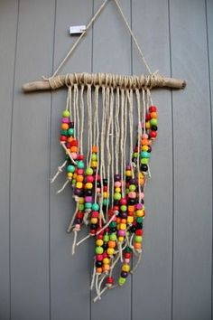 Colorful mobile with very colorful wooden beads driftwood and rustic .- Buntes Mobile mit sehr bunten Holzperlen Treibholz und rustikaler Schnur Colorful mobile with very colorful wooden driftwood beads and a rustic cord - Summer Crafts, Fun Crafts, Diy And Crafts, Arts And Crafts, Colorful Crafts, Twine Crafts, Etsy Crafts, Mobile Craft, Mobile Mobile