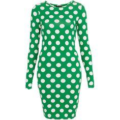 TOPSHOP Polka Dot Bodycon Dress ($58) via Polyvore