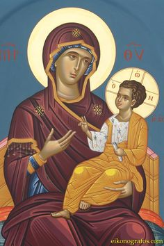 She who shows the way [Hodigitria] Icon of the Theotokos / Богородица Religious Images, Religious Icons, Religious Art, Jesus And Mary Pictures, Greek Icons, Art Populaire, Russian Icons, Byzantine Icons, Madonna And Child