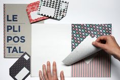 The Pli Postal is a book of 18 sheets of ready-to-fold stationery with a folding guide that shows you how to turn your note into its own envelope.