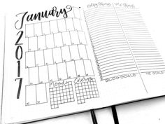 January 2017 Bullet Journal Monthly Spread. Planner Templates, Spreads, Inspiration, Downloads, Printables and more at bulleteverything.com.