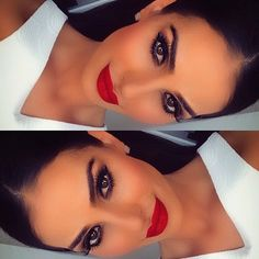 Make up goals for tonight // red lips, brown skin, dark eyes